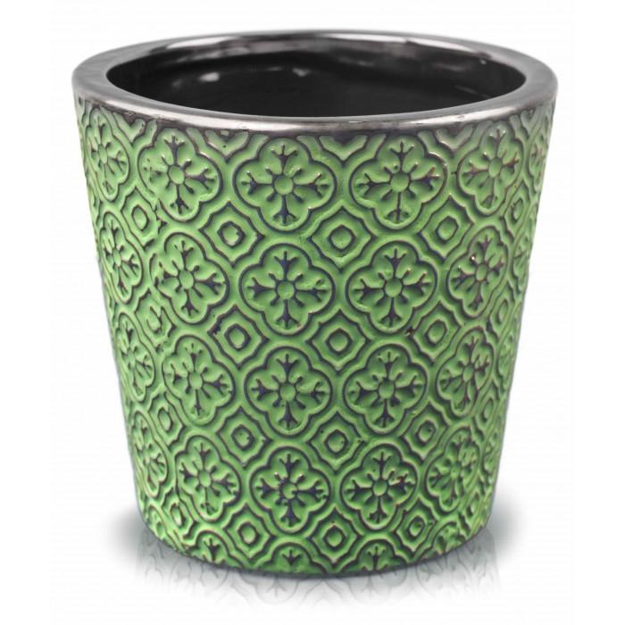 Zielona Doniczka Ceramiczna Rustic Okrągła Kolorowa